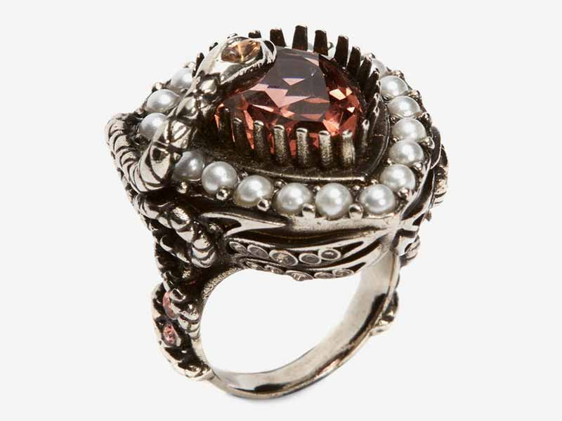 Ruby-red jewel and pearl encrusted ring by Alexander McQueen