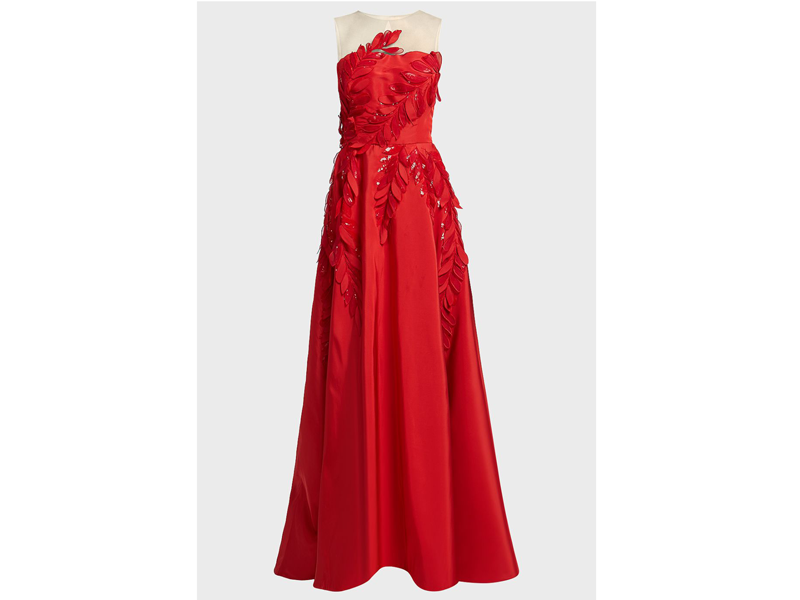 Red gown by Oscar de la Renta at Boutique 1 available at Mall of the Emirates