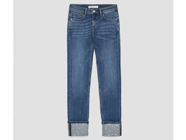 Pearl embellished jeans by Zara available at City Centres